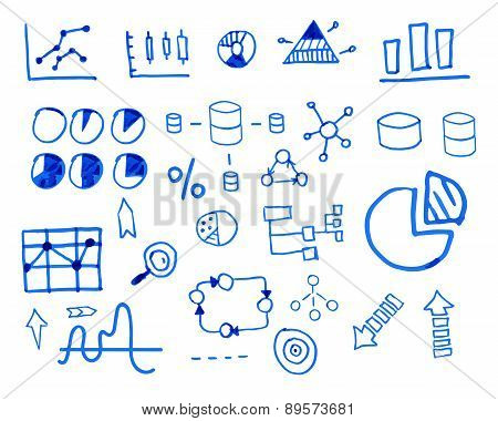 Business finance doodle hand drawn. sketched elements. Concept - graph, chart, pie, arrows signs. Is