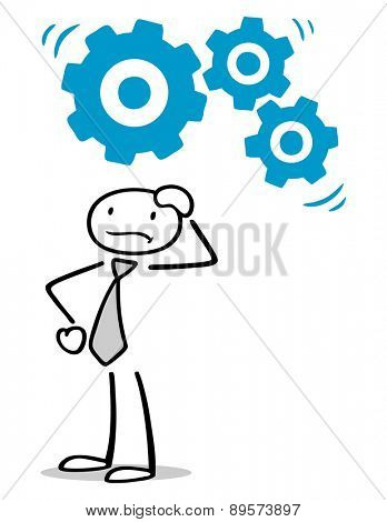 Pensive man thinking with moving gears over his head
