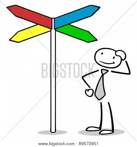 Pensive business man next to fingerpost looking for orientation