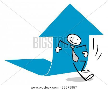 Business man lifiting arrow as concept for growth and success