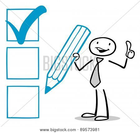 Successful business man checking checkbox and holding his thumbs up