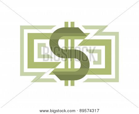 Money dollar - vector logo illustration