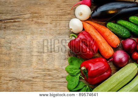 Tomatoes, Potatoes, Eggplant, Zucchini, Onion, Carrot, Radish, Cucumber, Tomato, Peppers, Spinach