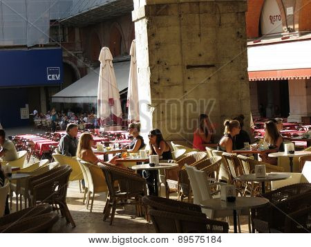 Customers At An Outdoor Cafe