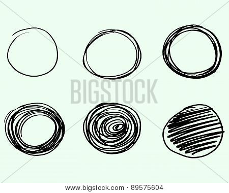 Set Of Hand Drawn Circles, Vector Logo Design Elements. Marker, Felt Pen, Liner Style.
