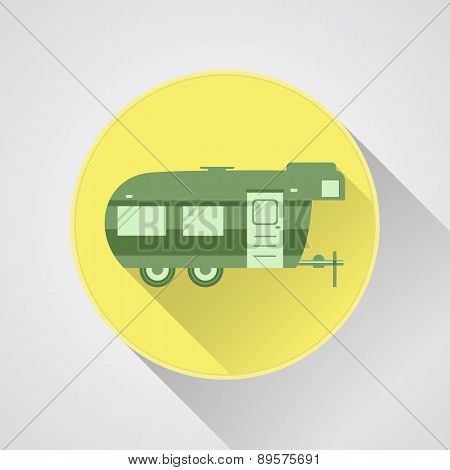 Rv Camping Icon Logo And Badge. Caravan Button In Flat Design With Long Shadow. Motorhome. Isolated