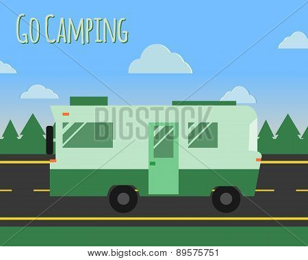Summer Camp Travel Poster Logo Badge. Motorhome On The Road. Outdoor Activity And Vacation Banner.