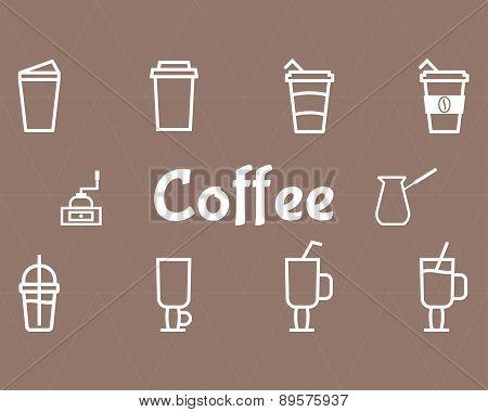 Coffee Line Icons Set