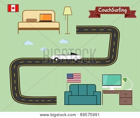 Couch Surfing Concept. Travel Infographic. Share Your Sofa. Car On The Road. 2015. Travel All Over T