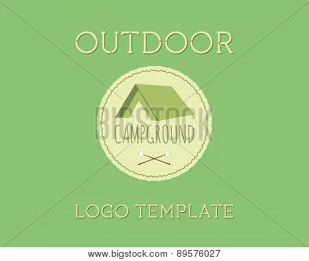Adventure Outdoor Tourism Travel Logo Vintage Labels Design Vector Templates. Campground, Campsite.