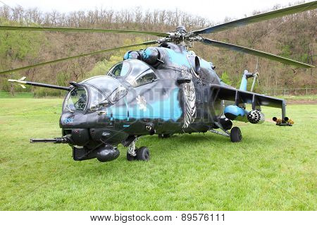 PILSEN CZECH REPUBLIC - MAY 1, 2015: The Mil Mi-24V Hind helicopter gunship and attack helicopter in marking elite 221. squadron (NATO Tiger Association)  Czech Air Force.