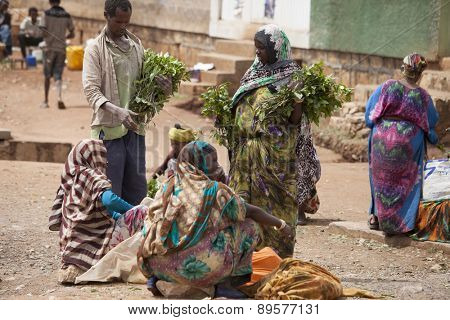 HARAR, ETHIOPIA-APRIL 17: Unidentified people buy and sell Qat, an addictive stimulant, in Harar, Ethiopia on April 17, 2015