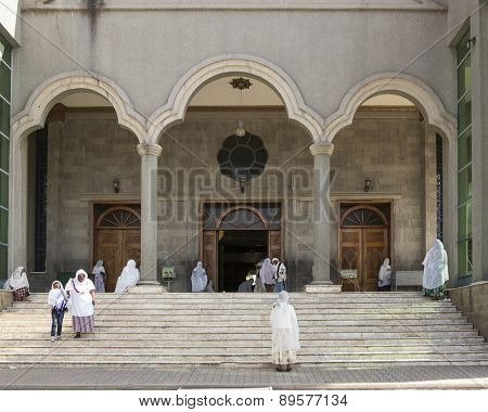 ADDIS ABABA, ETHIOPIA-APRIL 24: Unidentified worshippers worship at an Ethiopian Orthodox church in Addis Ababa, Ethiopia on April 24, 2015