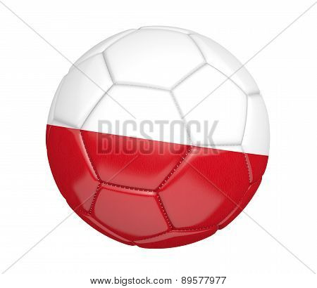 Soccer ball, or football, with the country flag of Poland
