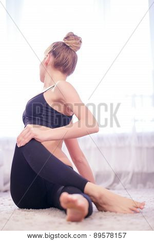 Woman stretching herself
