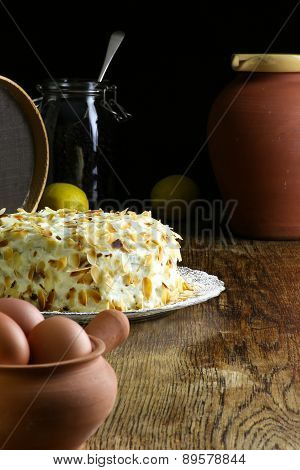 Homemade Carrot Cake On Glass Plate Fresh Eggs And Dark Background