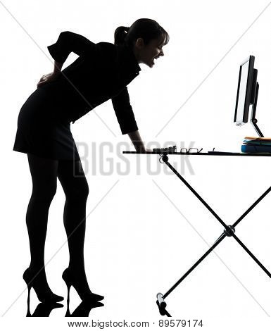 one business woman backache pain silhouette studio isolated on white background