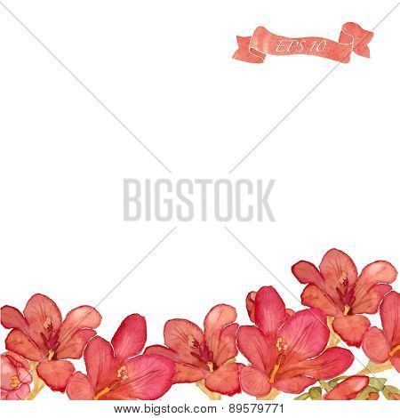 Watercolor Flowers Vector Background