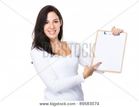 Caucasian woman show with clipboard
