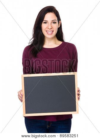 Caucasian woman show with chalkboard