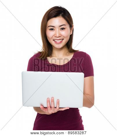 Asian woman use of laptop