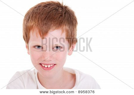 Cute Boy Smiling, Isolated On White, Studio Shot