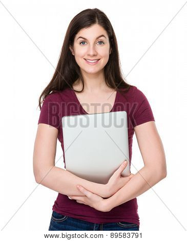 Caucasian woman hold with laptop computer
