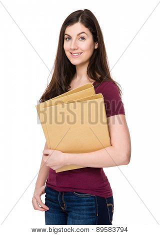 Caucasian woman hold with folder