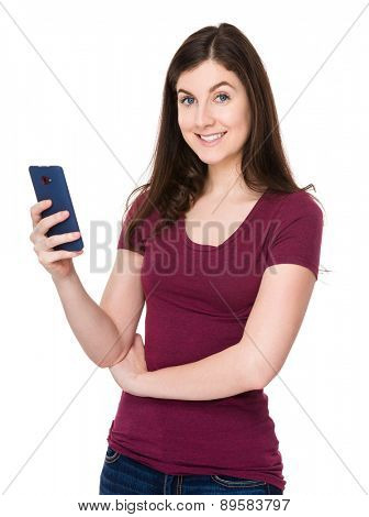 Caucasian woman use of mobile phone