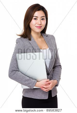 Businesswoman hold with laptop