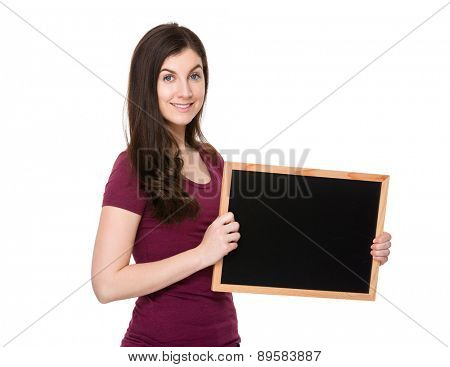 Brunette woman show with chalkboard