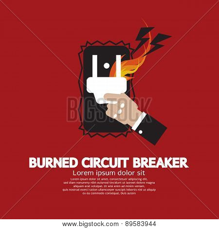 Hand Switching Burned Circuit Breaker.
