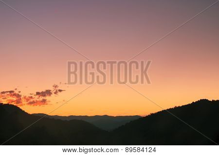 Silhouette Sunset over the Mountains