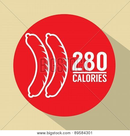 Hot Dog 280 Calories Symbol.