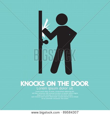 Graphic Of Single Man Knocks On The Door.