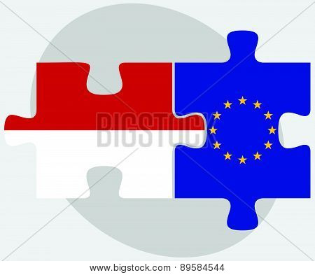 Indonesia And European Union Flags In Puzzle