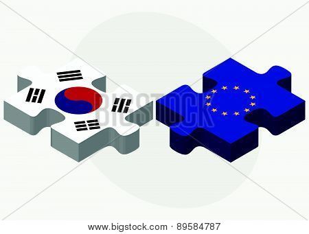 South Korea And European Union Flags In Puzzle