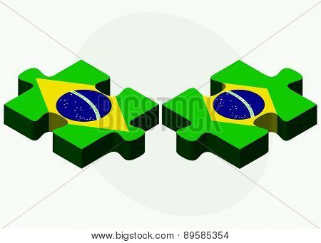 Brazil And Brazil Flags In Puzzle