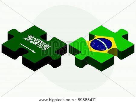 Saudi Arabia And Brazil Flags In Puzzle
