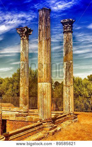 Ruins Of Corinthian Columns At Villa Adriana (hadrian's Villa), Tivoli, Italy