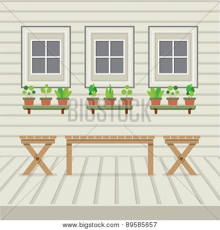 Empty Three Benches On Wood Wall And Ground With Pot Plants.