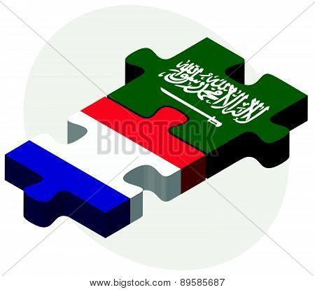 France And Saudi Arabia Flags In Puzzle
