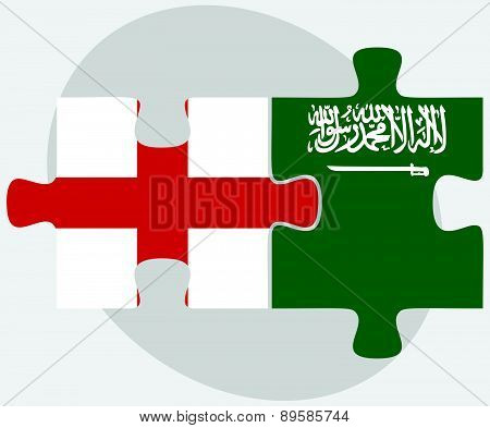 England And Saudi Arabia Flags In Puzzle