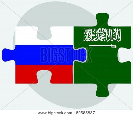 Russian Federation And Saudi Arabia Flags In Puzzle