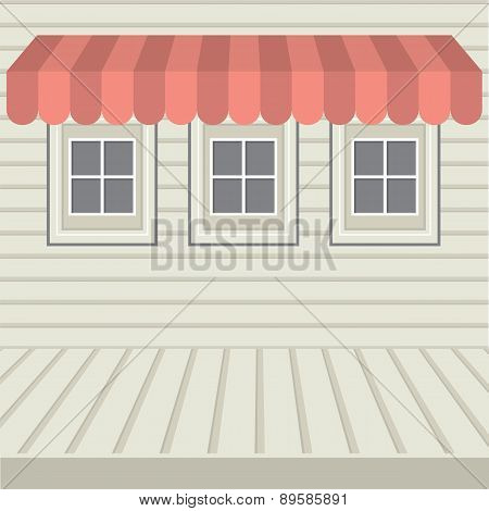 Flat Design Awning With Three Windows.