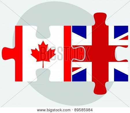 Canada And United Kingdom Flags In Puzzle