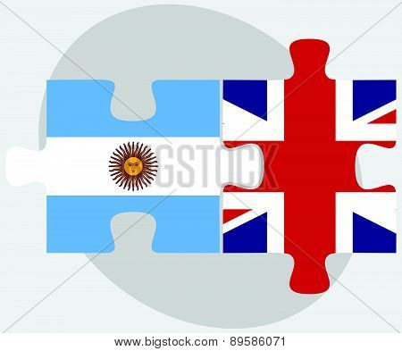 Argentina And United Kingdom Flags In Puzzle