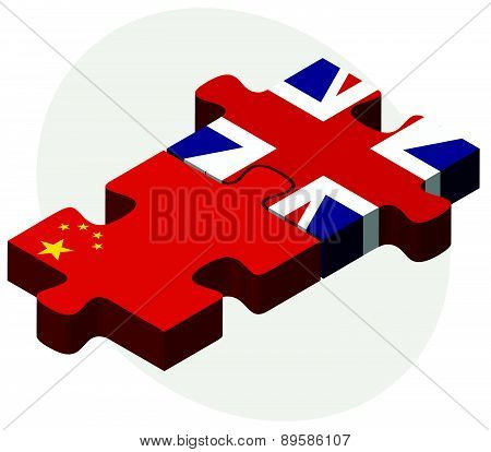 China And United Kingdom Flags In Puzzle