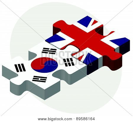 South Korea And United Kingdom Flags In Puzzle