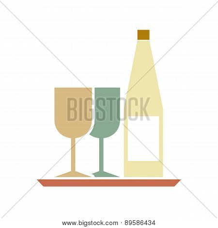 Glasses And Bottle On Serving Tray.